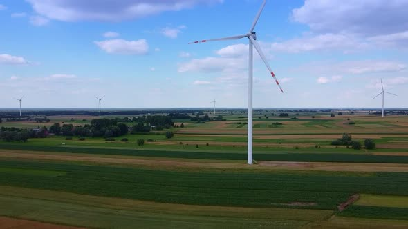 Arrays of Large Turbines From a Drone in Summer