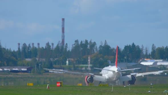 Wide Body Airliner Decelerating After Landing