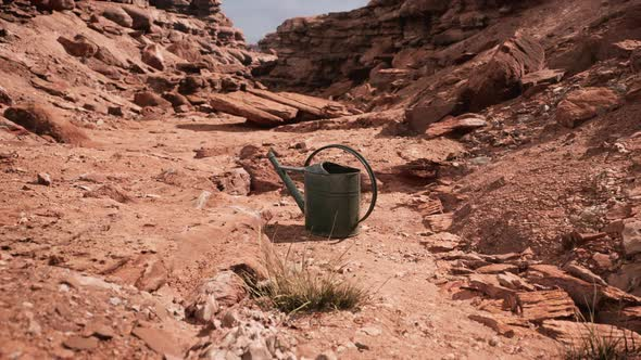 Beverage Can in Sand and Rocks Desert