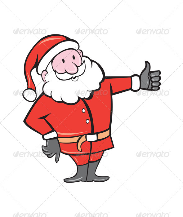 Father Christmas Thumbs Up Cartoon