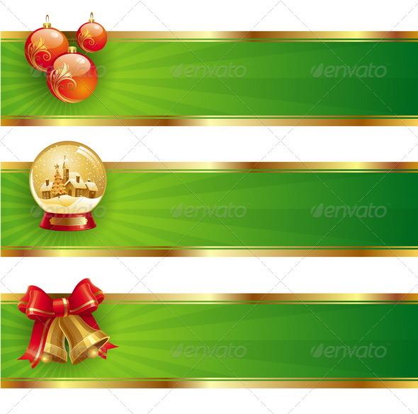 Christmas Banners With Holidays Symbols