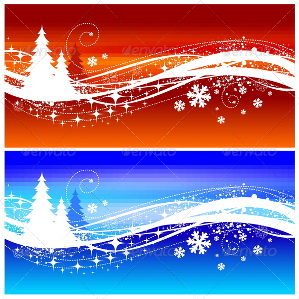 Abstract Winter Landscape With Christmas Trees