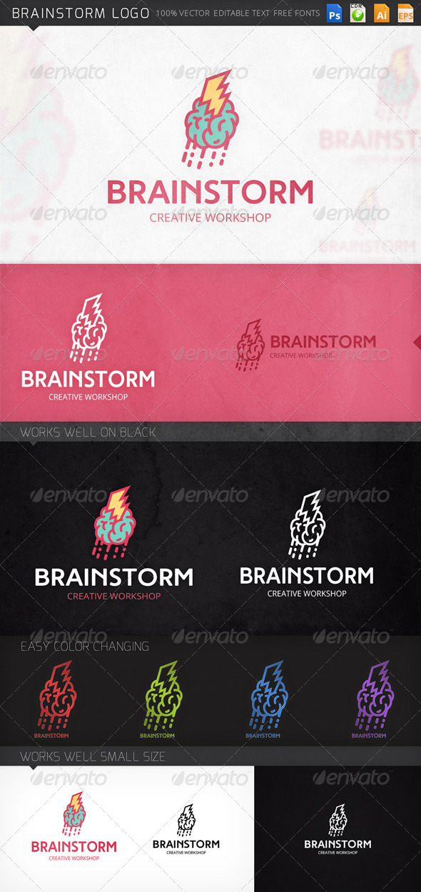 Brainstorm Brain Logo Template