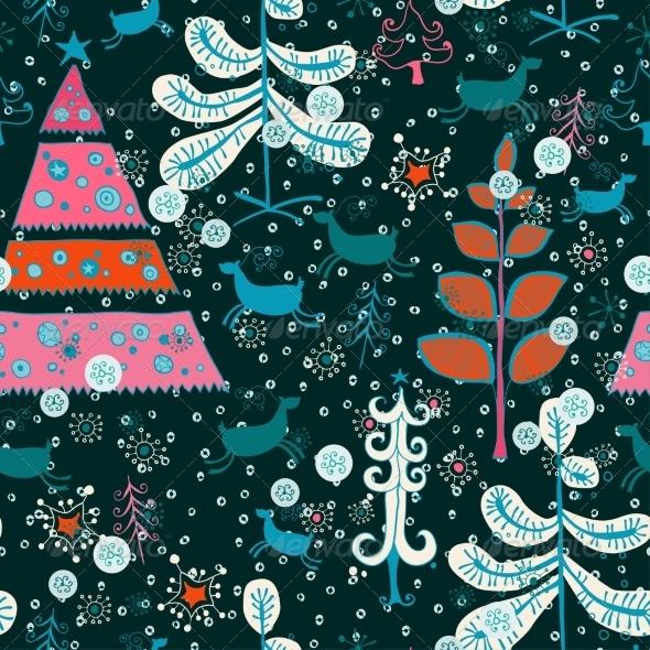 Pattern with Santa Deer, Doodle Snowman