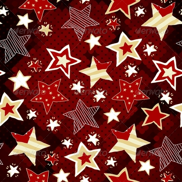 Stars on Red Mosaic Background