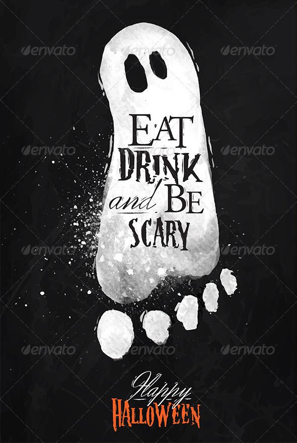 Ghosts Halloween Poster Chalk