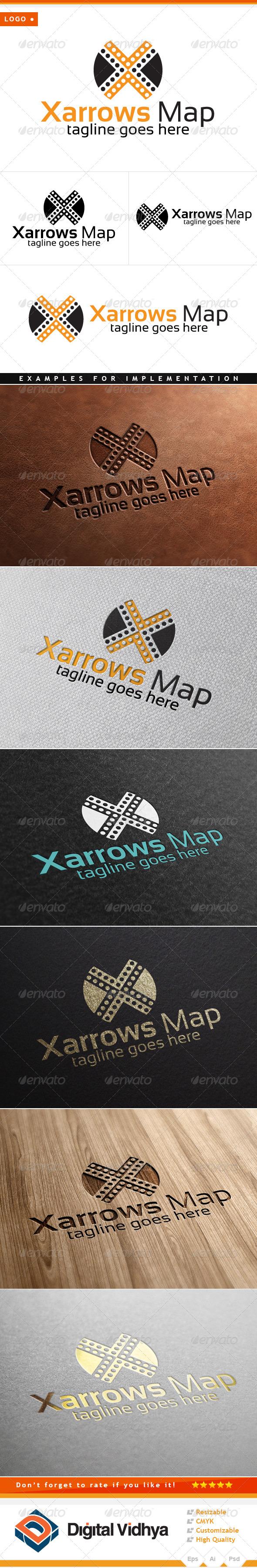 X Letter & Arrows Logo