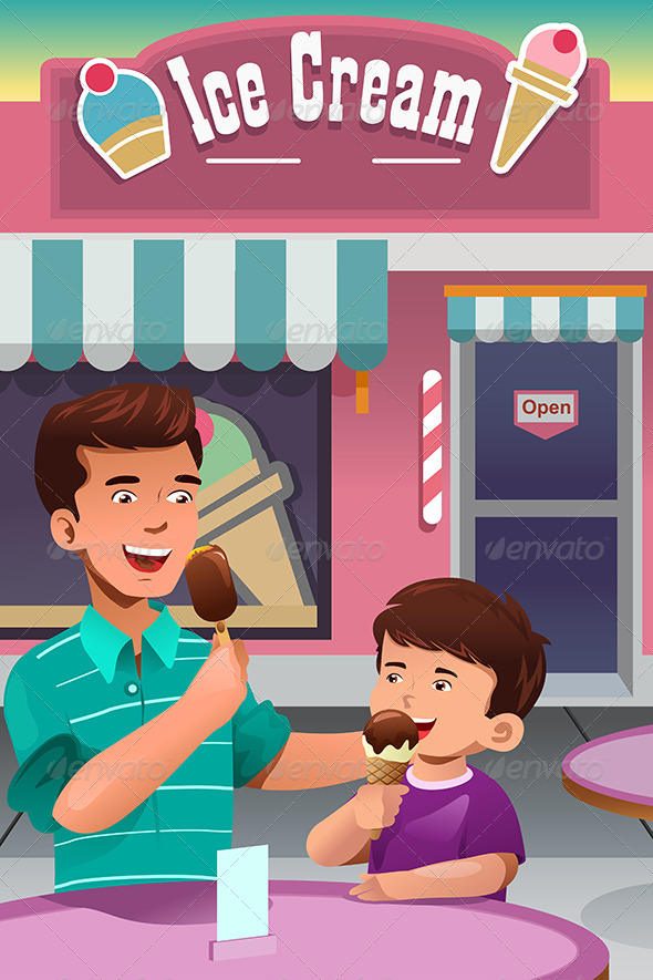 Father and Son Eating Ice Cream