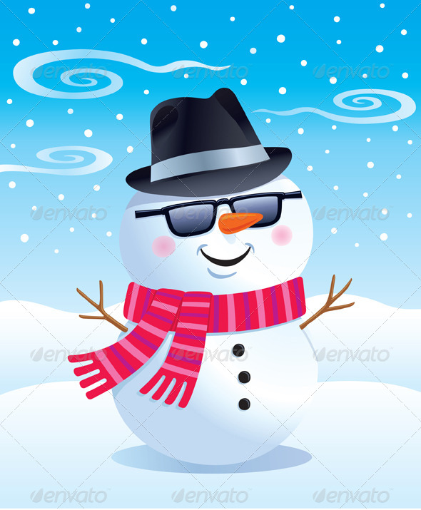 Cool Snowman in a Fedora and Sunglasses