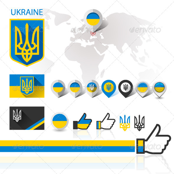Flag and Coat of Arms Ukraine with World map