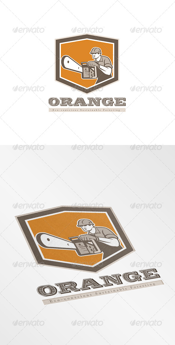 Orange Eco Sustainable Foresting Logo