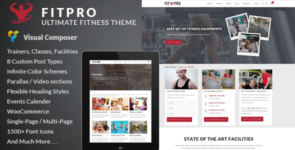 FitPro - Events Fitness Gym Sports WordPress Theme