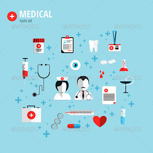 Flat Design Icons for Health Care