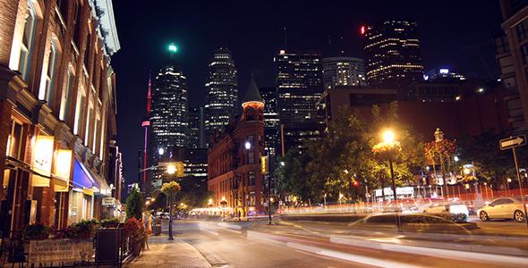 Modern City Street at Night