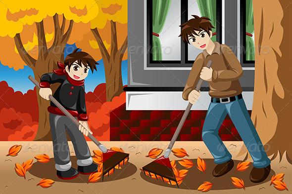 Father & Son Raking Leaves