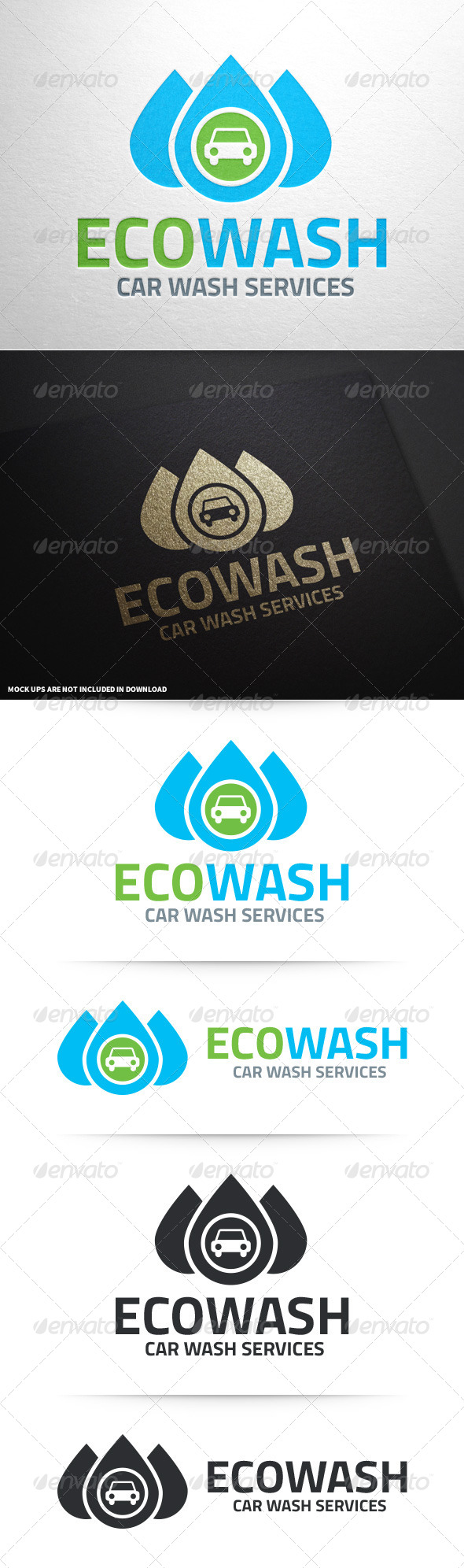 Eco Car Wash Logo Template