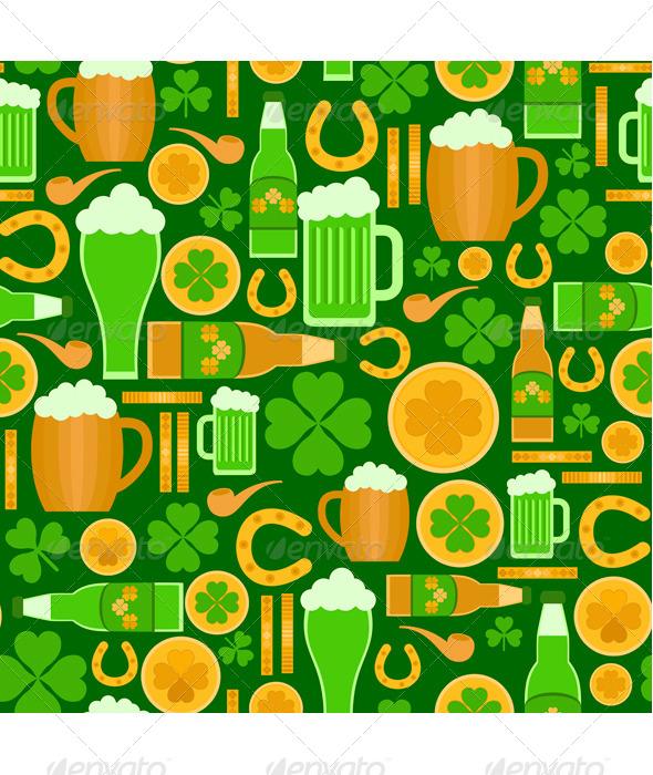 Seamless Pattern of Saint Patrick's Day Objects