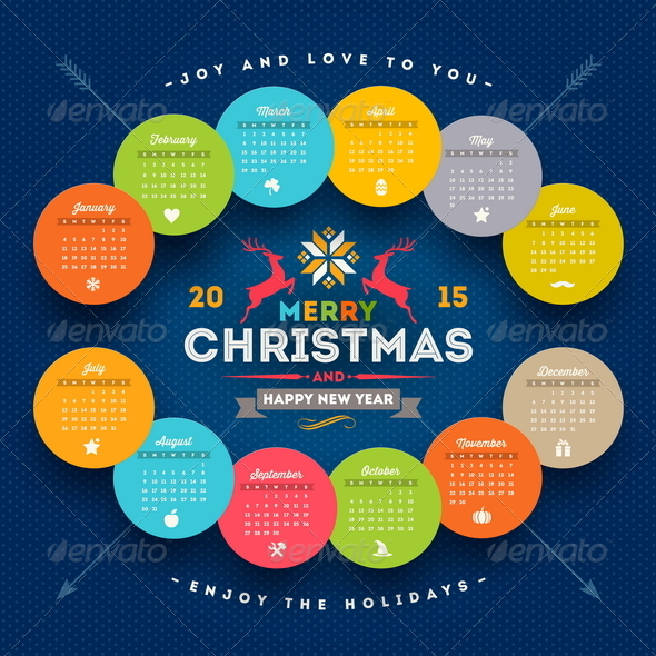 Calendar 2015 with Christmas Type Design