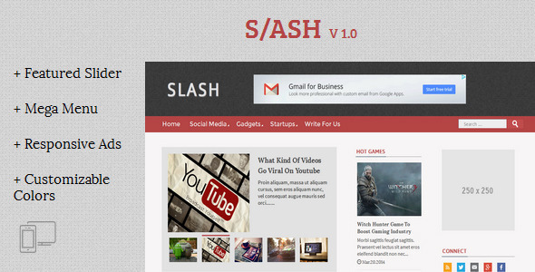 Slash - Tech/Magazine Blogger Template