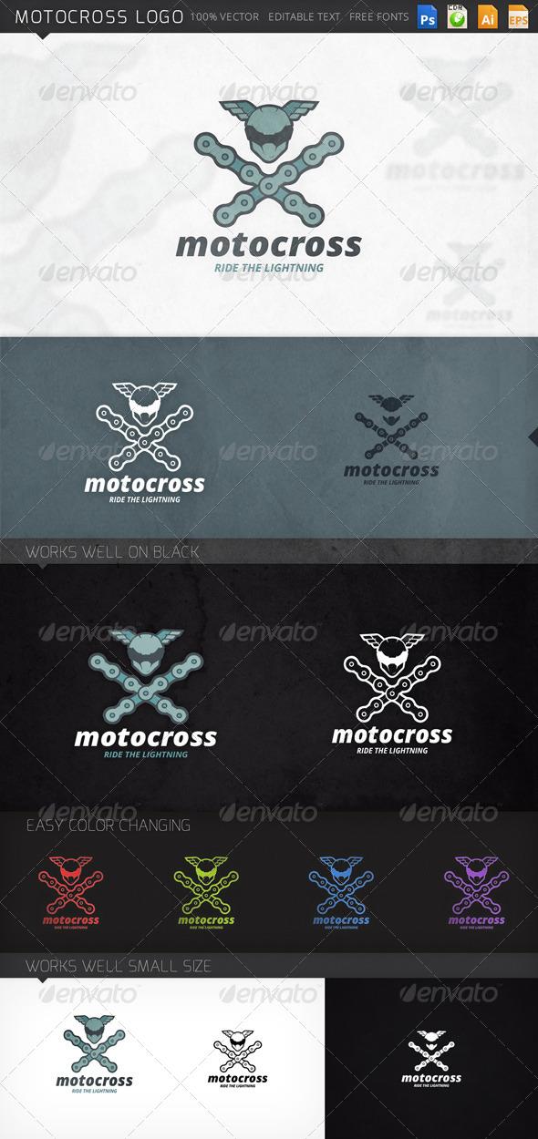 Motocross Helmet and Chains Logo Template