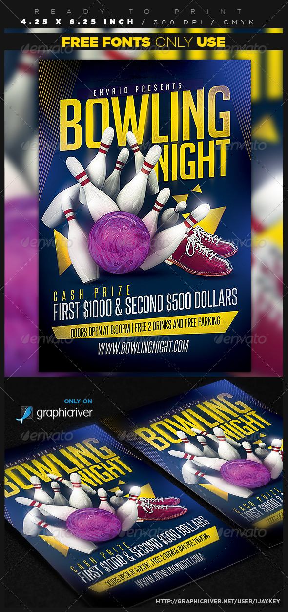 Bowling Flyer Graphics Designs Templates From Graphicriver