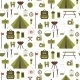 Seamless Pattern of Flat Colorful Camping Icons - GraphicRiver Item for Sale