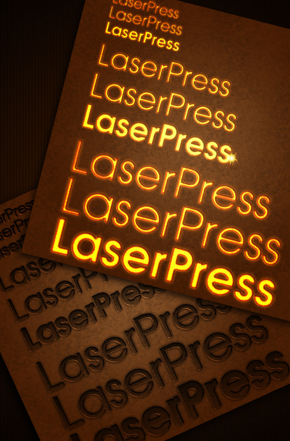 laser pressed text style