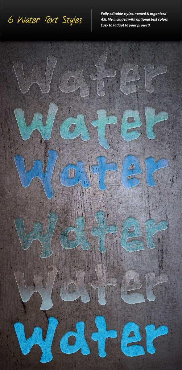 6 Water Text Styles