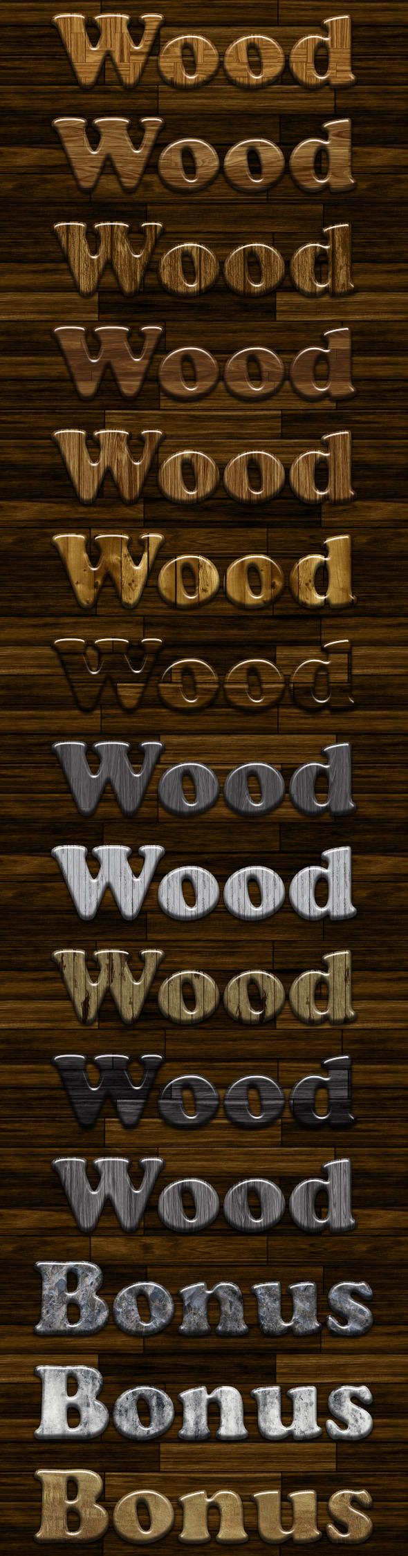 Glossy Wood Photoshop Styles v2