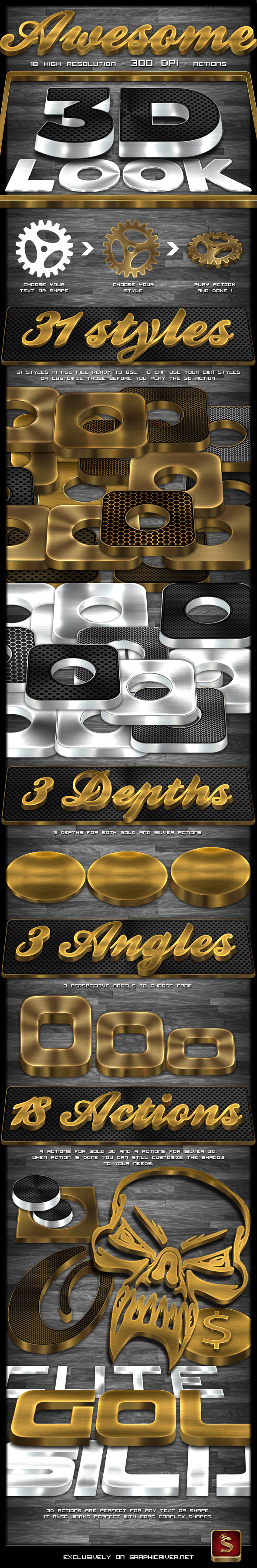Gold Text Effect Photoshop Actions from GraphicRiver