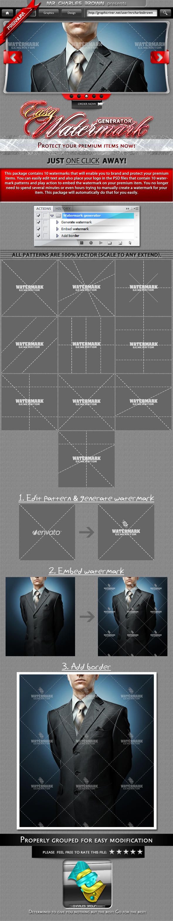 Watermark Photoshop Add-ons from GraphicRiver