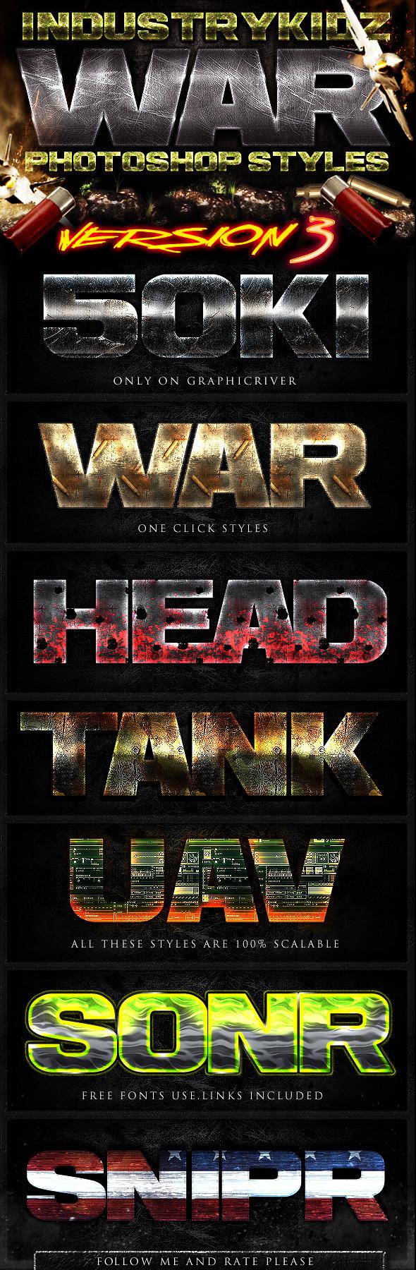 War Photoshop Layer Styles V3