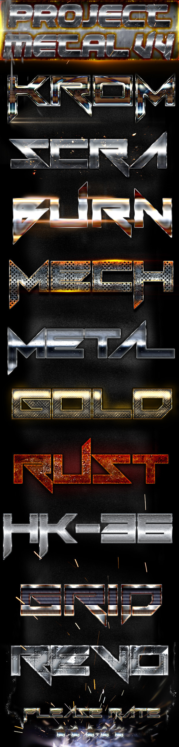 Project Metal V4 - Photoshop Text Styles