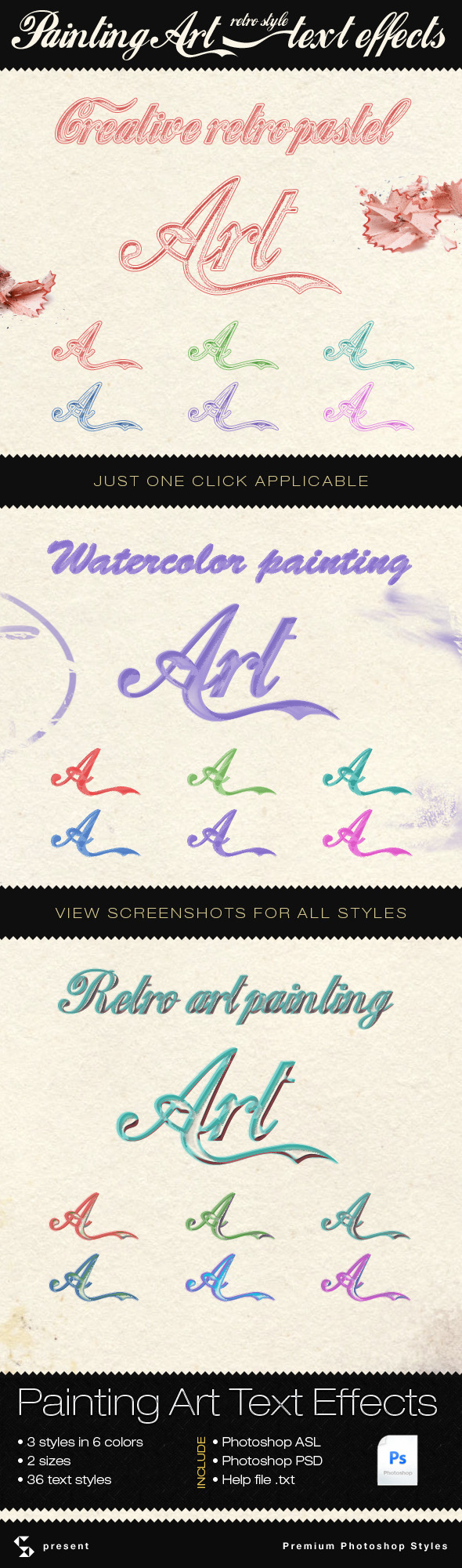 Painting and Retro Art Text Effects
