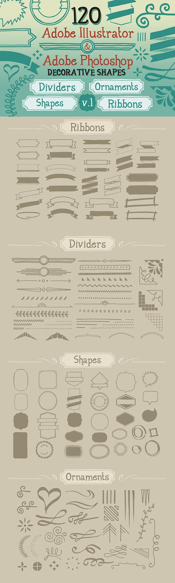 120 Handwritten Decorative Shapes 01