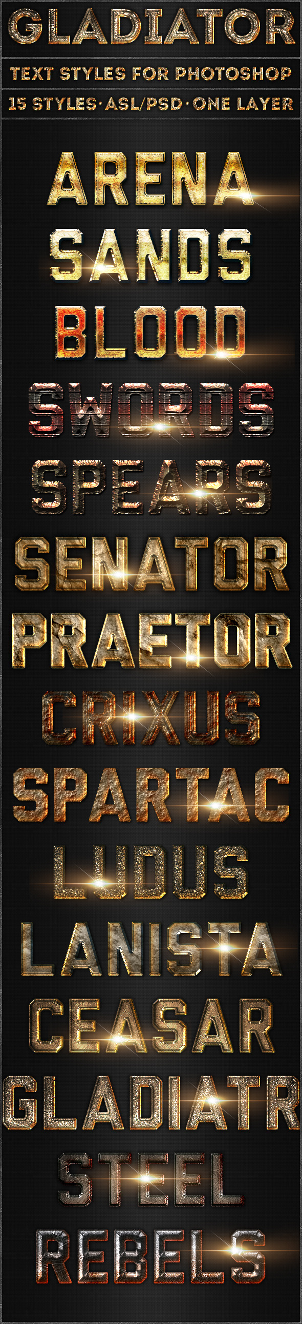 Gladiator - Text Styles