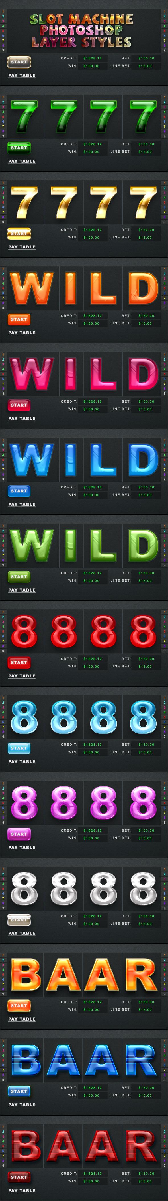 Slot Machine Photoshop Styles
