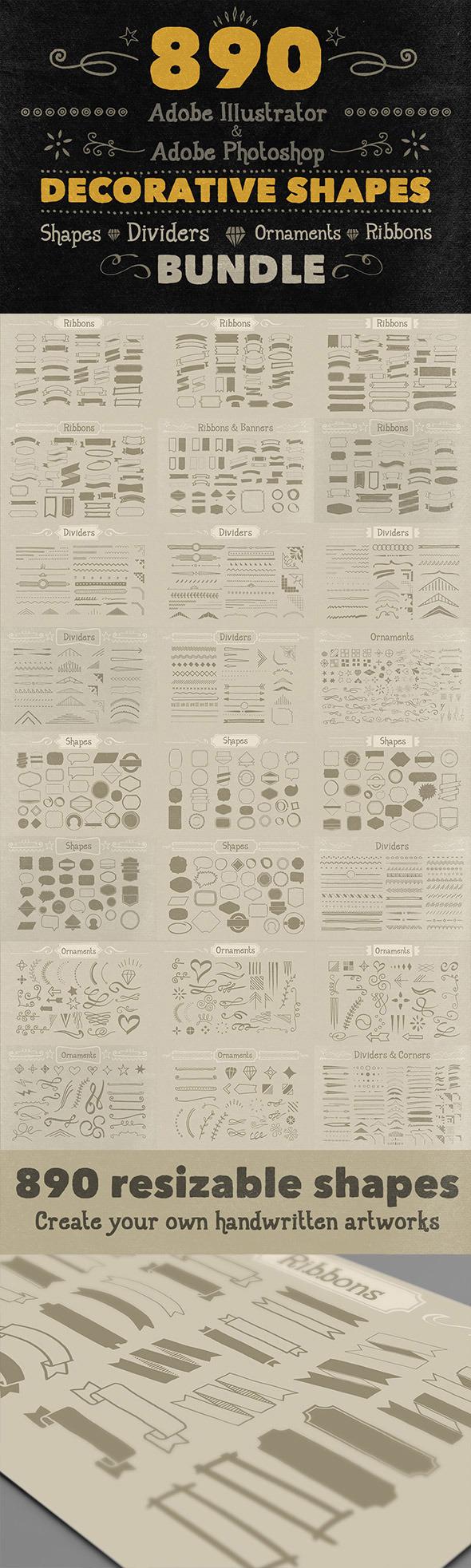 890 Handwritten Shapes - Bundle