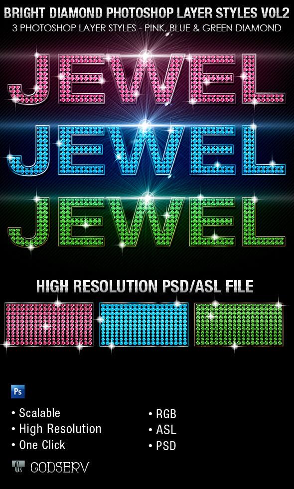 Bright Diamond Photoshop Layer Styles Vol 2