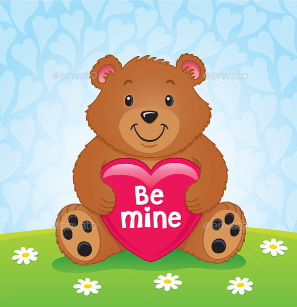 Valentines Day Bear Holding Heart