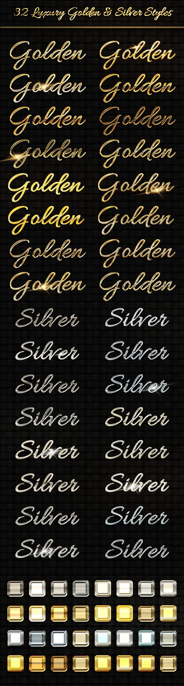BUNDLE - 32  Luxury Golden & Silver  Text Sty