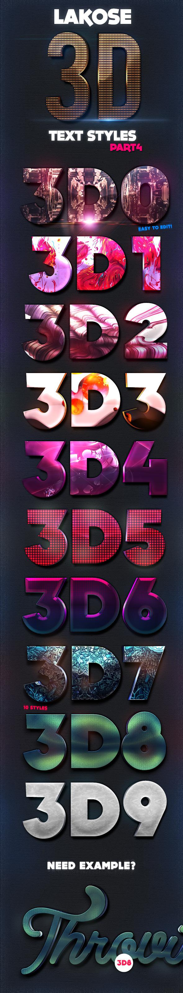 Lakose 3D Text Styles Part 4