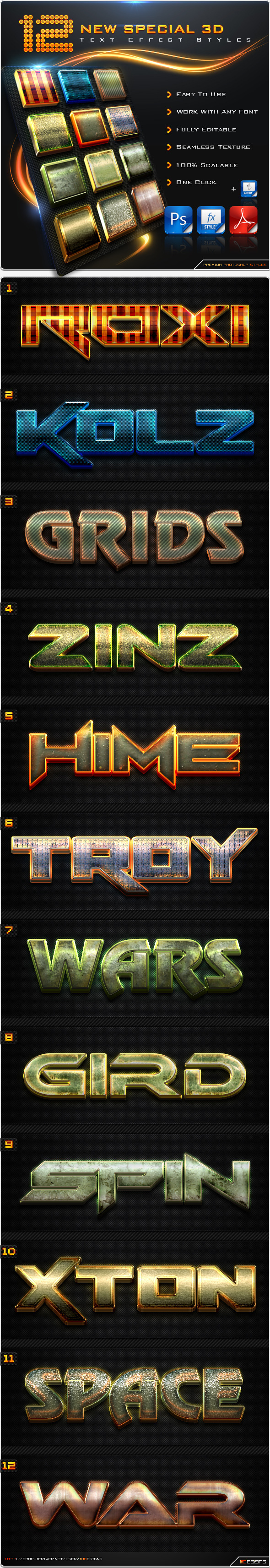 12 New Special 3D Text Effect Styles + Actions