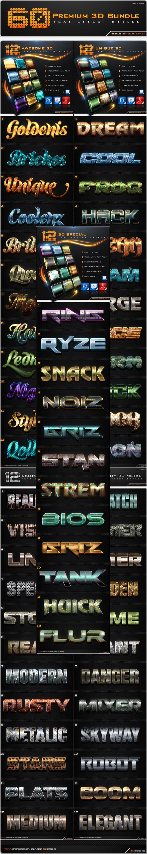 60 Premium 3D Text Effect Styles Bundle