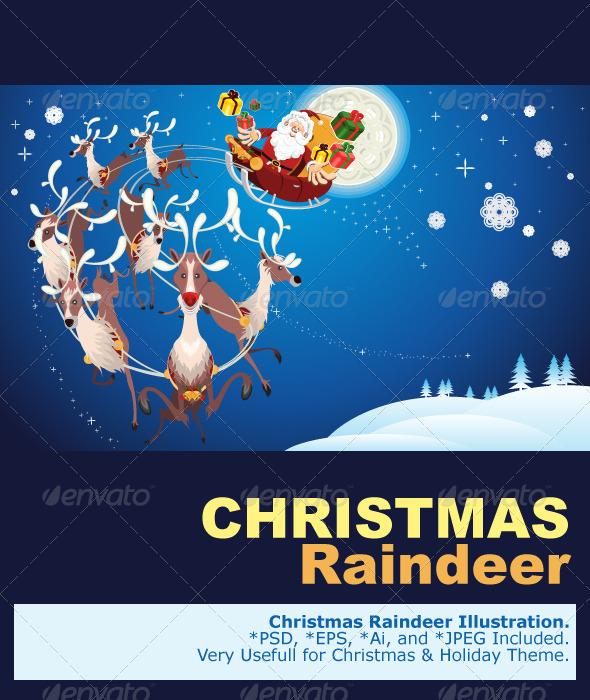 Reindeer And Santa Claus Christmas