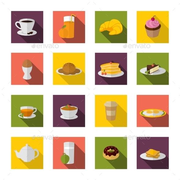 Breakfast Icons Flat
