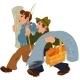 Cartoon Men Walking together after Shopping - GraphicRiver Item for Sale