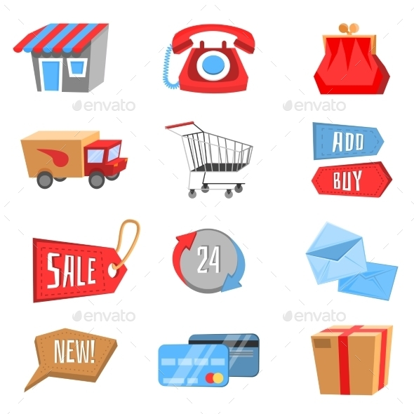 Vector Set of Flat and Colorful Shopping Icons
