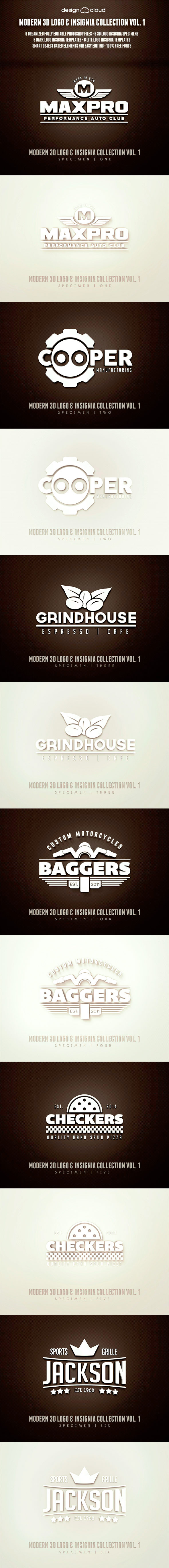 Modern 3D Logo, Insignia & Badge Templates Vol. 1