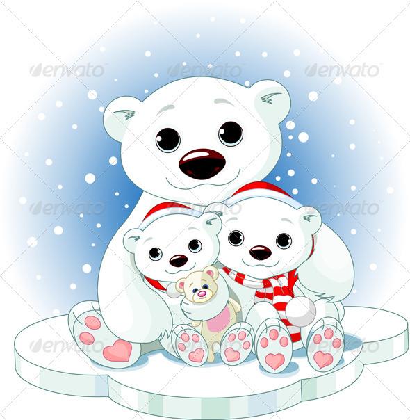 Christmas Polar Bear Family